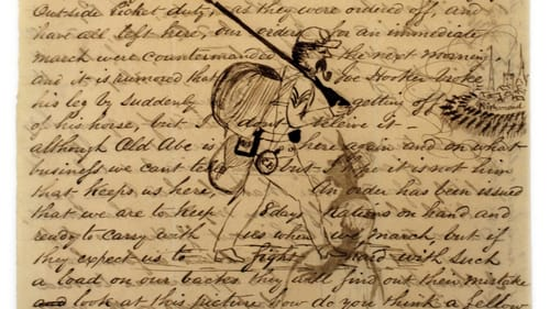 Penned near the battlefield? An 1863 letter and drawings from a Civil War soldier survive today. (Image courtesy of the Civil War Museum of Philadelphia and the Abraham Lincoln Foundation of the Union League of Philadelphia.)