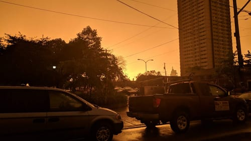 Are we watching humanity's own sunset? An ominous South Philly sky after a late spring thunderstorm. (Photo by Kyle V. Hiller.)