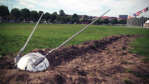 An imagined crash-landing: Brandon Vickerd's 2013 'Sputnik Returned.' (Image courtesy of the Berman Museum.)
