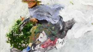 Full of motion and narrative: Jamie Wyeth's 2016 'Stealing Holly from the Irénées.' (Image courtesy of the Brandywine River Museum and the Phyllis and Jamie Wyeth Collection.)