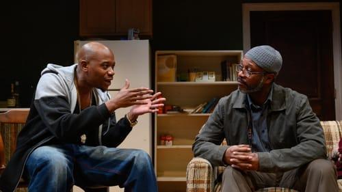 Only half-bad: Eric Carter as Damon, with Steven Wright as Kenyatta, in Azuka's 'Sunset Baby.' (Photo by Johanna Austin.)