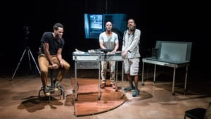 Channeling the inmates' voices: The Wooster Group's Eric Berryman, Jasper McGruder, and Philip Moore. (Photo by Bruce Jackson.)