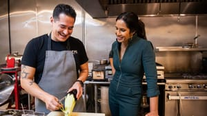 'Taste the Nation' host Padma Lakshmi with Mexican American chef and restaurateur Emiliano Marentes in El Paso. (Photo by Dominic Valente for Hulu.)