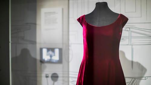 A simple, cap-sleeve, rich maroon velvet dress on a mannequin.