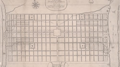 Believe it or not, someone planned Philadelphia: Thomas Holme's 1683 'Prospect of Philadelphia.' (Image courtesy of the Free Library of Philadelphia Map Collection.)