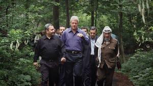 'The Human Factor' visits Ehud Barak, Bill Clinton, and Yasser Arafat at Camp David in 2000. (Image courtesy of Dogwoof Sales.)