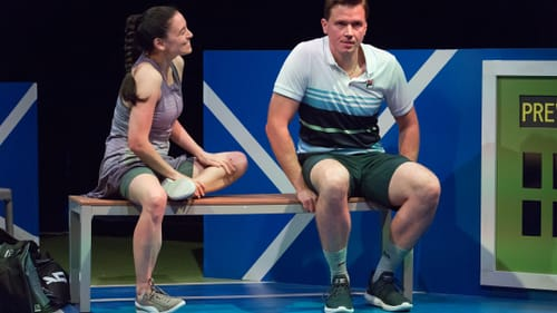 Much more than the next point: Joanna Liao and Scott Miller in the Lantern's 'Last Match.' (Photo by Mark Garvin.)