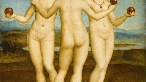 A lot of orbs and naked frolicking are happening over here: Raphael's 'The Three Graces.'