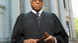 Big robes to fill: Johnnie Hobbs, Jr. as Thurgood Marshall. (Photo by Mark Garvin.)