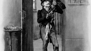 Tradition: Fred Barnard's 1870 illustration of Tiny Tim and Bob Cratchit. (Image via Creative Commons/Wikimedia)
