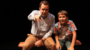 Ray Didinger (Matt Pfeiffer) and a younger version of himself (Simon Canuso Kiley) visit memory lane. (Photo by Paola Nogueras)