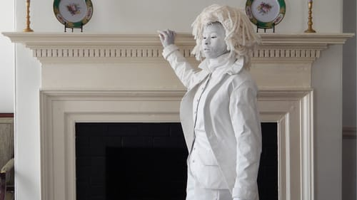 Revisiting the University of Virginia: artist Marisa Williamson in her 2018 'The Ghost of Thomas Jefferson appears at home in fine white spaces.' (Photo by Gabby Fuller, image courtesy of the artist.)