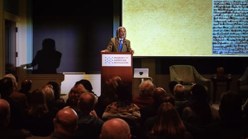 Author Vincent Brown visited Philly's Museum of the American Revolution in February. (Image courtesy of MOAR.)