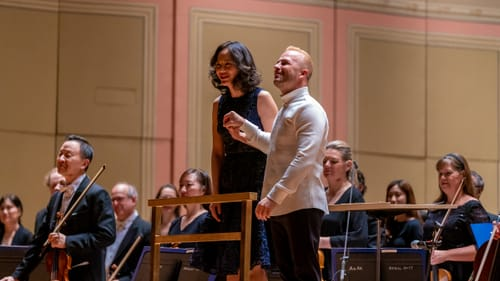 """Philadelphia Orchestra Music Director Yannick Nézet-Séguin and Vivian Fung after the 2020 premiere of her 'Dust Devils.' Are these moments """"extraordinary"""" or """"groundbreaking""""? (Photo by Jeff Fusco.)"""