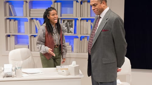 This production makes the power dynamic clear.: Jessica Johnson and Johnnie Hobbs, Jr. in 'Oleanna.' (Photo courtesy of the Walnut.) (Photo courtesy of the Walnut.)