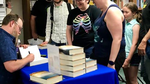 'Wanderers' author Chuck Wendig greets fans in Doylestown. (Photo courtesy of Doylestown Bookshop.)