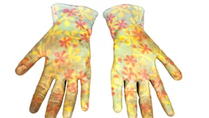 More than a sartorial survey: these gardening gloves got Drexel staffer Rosalind Sutkowski through the pandemic. (Image courtesy of the Fox Historic Costume Collection, Drexel University.)