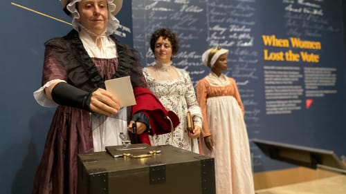 They waited their turn long enough: a tableau of early women voters. (Photo courtesy of MoAR.)