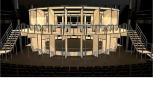 Is this the future of theatergoing in the COVID era? Wilma Globe original seating design by Sara Brown, Misha Kachman, and Matt Saunders. (Image courtesy of the Wilma.)