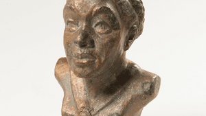 """""""Bust of Mary McLeod Bethune,"""" (date unknown), by Selma Burke. (Photo via Woodmere Art Museum: Gift of the private collection of Charles L. Blockson, 2018.)"""