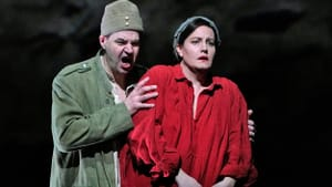 Two role debuts: baritone Peter Mattei (Wozzeck) and soprano Elza van den Heever (Marie). (Photo by Ken Howard for the Met Opera.)
