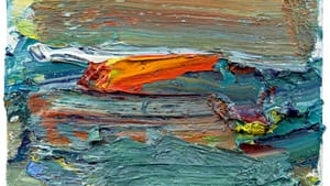 Ying Li's 'Cranberry Island, Red Canoe,' oil on linen, 16 x 16 inches. (Photo courtesy of Gross McCleaf Gallery.)