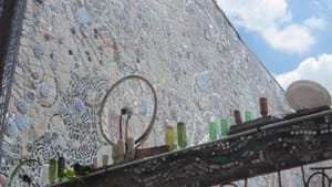 Philadelphia artist Isaiah Zagar frequently references the work of Marcel Duchamp in his outdoor mosaics. (Photo by AJ Sabatini.)