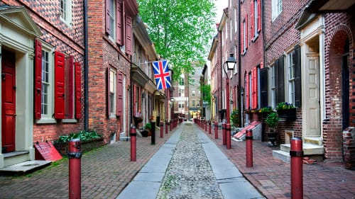 Even if you're far away, you can still visit the oldest residential street in America with the new podcast. (Photo courtesy Elfreth's Alley Museum.)