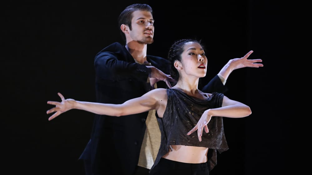 Kapeluck and Yorita perform in 2017's 'On the Mysterious Properties of Light.' (Photo by Bill Hebert.)