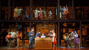 At work in the Brill Building. (Original Broadway cast; photo by Joan Marcus, courtesy of the Kimmel Center)