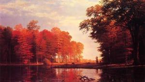 More personal than his Yosemite paintings: 'Autumn Woods' by Albert Bierstadt.