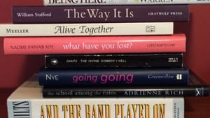 How will your reading stack look after poets, playwrights, and novelists tackle the coronavirus? (Photo by Anndee Hochman.)