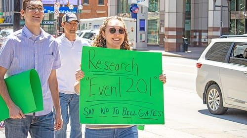 Pandemic protestors have something to say about Bill Gates. (Photo by Paul Becker, via Wikimedia Commons.)