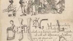 Illustrated letter by Maxfield Parrish to his cousin Henry Bancroft. (Image courtesy Delaware Art Museum.)