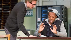 The only student in sight: Pierce (right), with Ryan Spahn. (Photo by Mark Garvin)