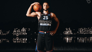 Sixers All-star Ben Simmons poses with the 2021 edition of the team's city jerseys. (Photo courtesy of the Philadelphia 76ers.)