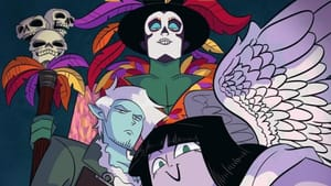 A colorful illustration featuring cartoon-stylized angels, including Azrael, who is centered and is wearing masquerade makeup