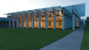 South view, Renzo Piano Pavilion, September 2013. Kimbell Art Museum, Fort Worth, Texas. Photo by Robert Polidori
