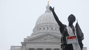 A newly decorated statue at the Wisconsin State Capitol. Photo by Matt Wisniewski.