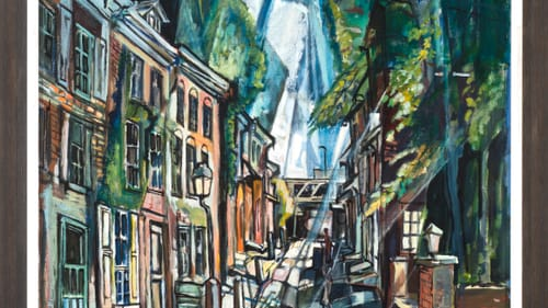 1973's 'Elfreth's Alley,' By Edward Loper Jr. (born 1934). Oil on canvas, 35 × 32 in. (88.9 × 81.3 cm). Collection of Marianne Moore Viceconte; © Edward Loper Jr.