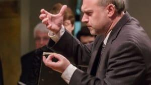 Artistic director Matthew Glandorf conducting Bach's 'Christmas Oratorio.' (Photo courtesy of Choral Arts Philadelphia.)