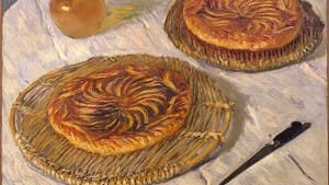 """Claude Monet, """"Apple Galettes,"""" 1882. Probably given by the artist to pastry chef Paul Graff. He loaned it to Monet's 1883 solo exhibit, which was a complete failure."""