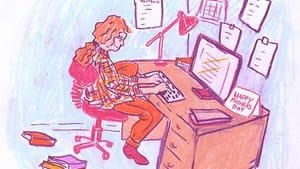 Mama writers, this one's for you! (Illustration for BSR by Hannah Kaplan)