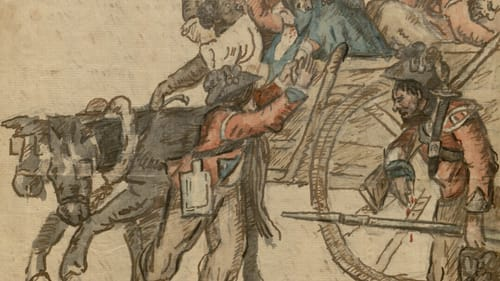 No self-aggrandizing soldier: a Richard St. George cartoon depicts 'My Triumphant Entry Into Philadelphia' after a gunshot to the head. (Image courtesy of MOAR.)