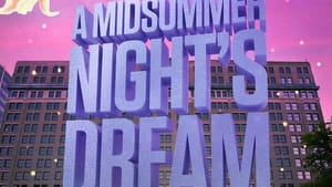 The show title is in large, purple type with Hotel Du Pont in the background. Flowers decorate the edges of the image.